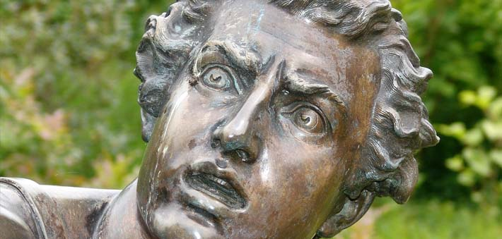statue with fearful face